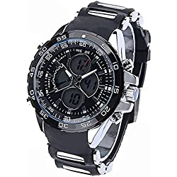 PIXNOR WEIDE WH-1103 Waterproof Mens LED Digital Analog Dual Time Display Rubber Band Sports Wrist Watch (Black)