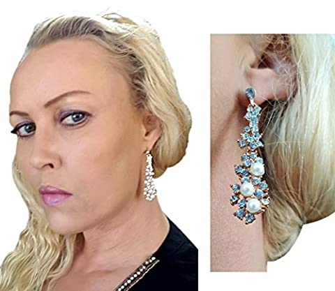 Gold Waterfall Drop Dangle Sparkly Rhinestone Crystal & Faux Pearl Cluster Earrings by Pashal
