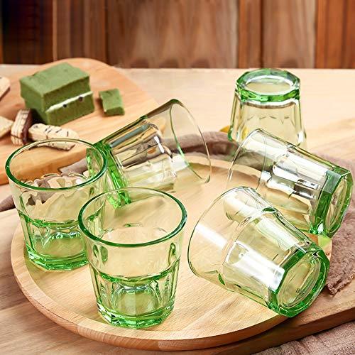 BAIHOME Bleifreies Kristallglas Highball-Glas, 280 ml Barware Trinkgläser für Wassersaft Bier Wein Whisky Cocktail Tasse Bar Zubehör 6er-Set,Green Barware Gläser