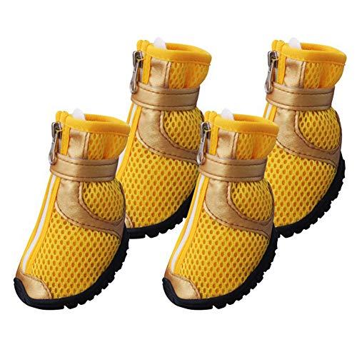 AMURAO Hund Schuhe Stiefel, Anti Slip atmungsaktives Mesh gebunden Reißverschluss Schuhe für Hunde