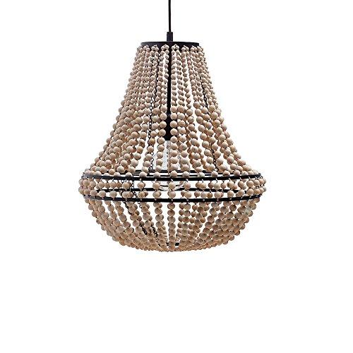 er Kronleuchter ROYAL Nature Lüster mit Holzperlen Lampe Holz Deckenleuchte ()