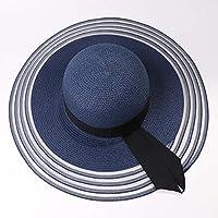 FHHYY sombreo Bucket Hat Flat Top Mujeres Sombrero de Paja Solid Plain Spring Summer Sun Hat Ladies Beach Cap Mujer Packable Fashion Bucket Cap,f
