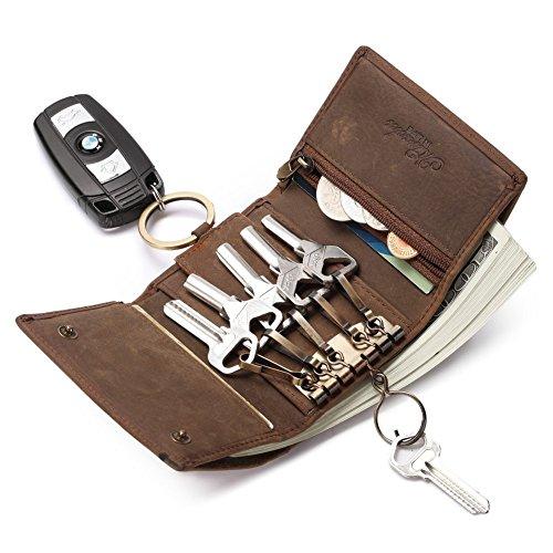 Portemonnaie Herren Klein-Schlüsseletui-RFID SCHUTZ-Braun-Leder-Schlüsselmäppchen-Mini Geldbörse TEEMZONE