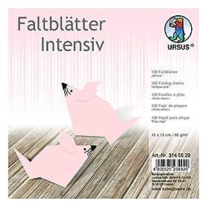 Ursus 3145529 - Hojas Plegables (100 Unidades, 65 g/m², 15 x 15 cm, para Artistas de Origami, teñidas en Colores intensos), Color Rosa