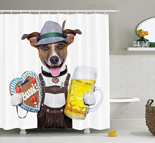 Collection, Oktoberfest Dog with Beer Mug and Gingerbread Heart, Smiling Happy Times Art, Polyester Fabric Bathroom Shower Curtain Set, 66x72 inches, Yellow Brown ()