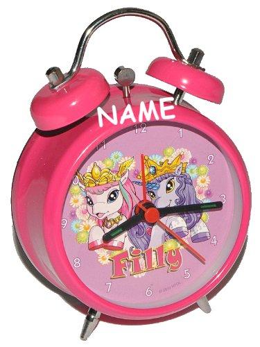 Kinderwecker Filly Einhorn Magic - mit Wunschname - für Kinder Wecker rosa Pferd Metall Alarm Mädchen Kinderwecker