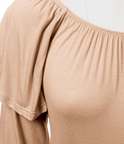 NiSeng Donna Manica Lunga Manicotto del Loto Giuntura Tinta Unita Collo Rotondo T-shirt Camicia Maglietta Tunica Cachi