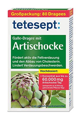 tetesept Galle-Dragee mit Artischocke - Dragees mit Artischockenextrakt - fördert die Fettverdauung und hilft beim Cholesterin Abbau - 1 x 80 Stück [pflanzliches Arzneimittel]