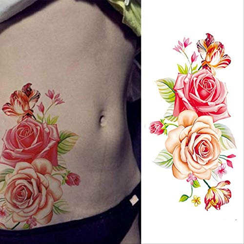 Kostüm Sexy Quallen - ZPF Tätowierung Wasserdicht Temporäre Tätowierungen Aufkleber Sexy Romantische Dark Rose Blumen Henna Gefälschte Body Art Flash Tattoo Hülsetbx012