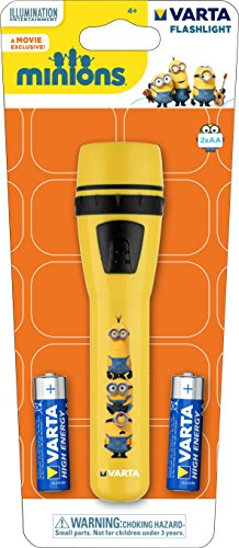 Image of Varta 5mm LED Minions Flashlight for Children incl. 2x High Energy AA Batteries Children Flashlight Light Flashlight ideal for children's room child's birthday Night Light