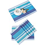 PVC Table Mats/Place Mats/Drawer Mats/Fridge Mats/Multipurpose Mats/Refrigerator Mats/Dinner Mats/Dinning Mats/Kitchen Place Mats, 30x45cm, 6 Piece Set-(T21X151566-BLUE)