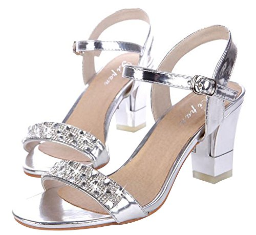 Dayiss Elegant Leder Damenschuhe High Heels mit Strass Römersandalen Sandaletten Sommer Silber