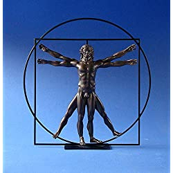 Leonardo Da Vinci Der vitruvianische Mensch Skulptur Plastik bronziert DAV03