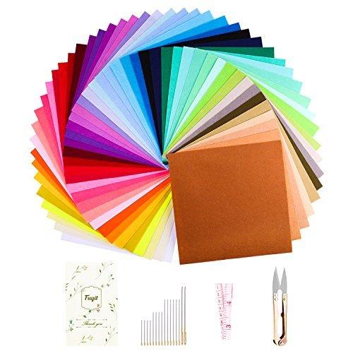 Hoja de Fieltro 48 Colores Fuyit No Tejido Tela de Fieltro Suave Felt Fabric para Manualidades Patchwork Costura DIY Artesanía (15 x 15 cm)