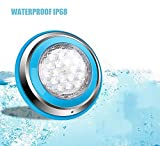 Roleadro Bianco Luce LED Piscina 54W IP68 Illuminazione Subacquea Luce per Piscina e Laghetto18 * 3W [AC/DC 12V-24V]