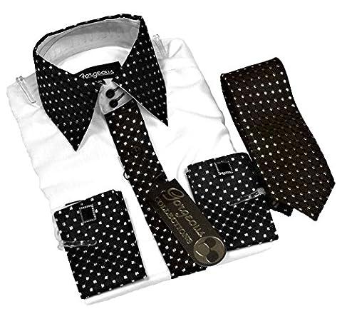 Boys Shirt, Tie, Cufflinks & Handkerchief black/white 1-2 years