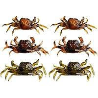 BESPORTBLE Cebo de Pesca Señuelos Suaves Señuelos de Cangrejo Artificial Cebo con Ganchos para Hombres Mujeres Pescador Suministro Al Aire Libre 3 Piezas (Marrón Verde Y Naranja)