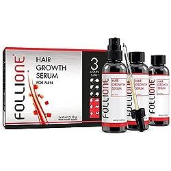 Serum de crecimiento del pelo para hombres | Tratamiento dermatológicamente testado para caída y debilitamiento del pelo | Desarrollado como una alternativa al Minoxidil | Suministro para 3 meses.