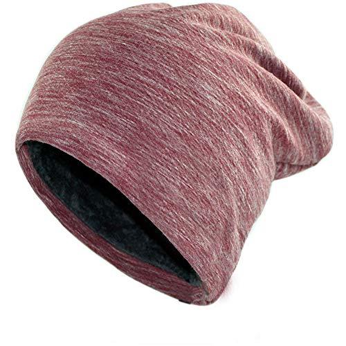 (MMJ Die Wintermütze aus Wolle ist warm und bequem und eignet sich für Männer und Frauen (Farbe : Weinrot, größe : M))