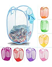 KETSAAL Net Laundry Bag Foldable & Collapsible with Easy to Carry Handle- for Home, Dorms, Hostel (Multicolor)