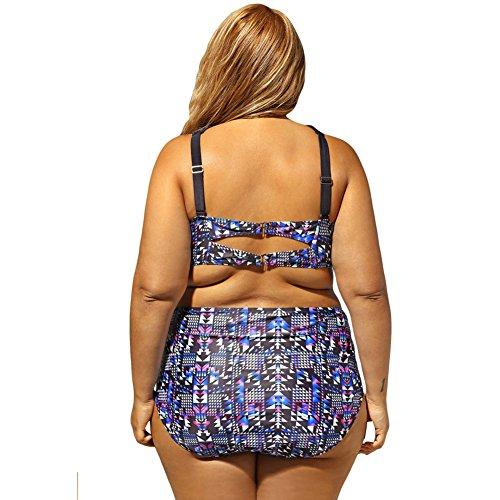 PU&PU Frauen Plus Size Strand Criss Bikinis Zwei Stücke Set Badeanzug Boho Druck Hohe Taille Underwire Gepolsterte BH as picture
