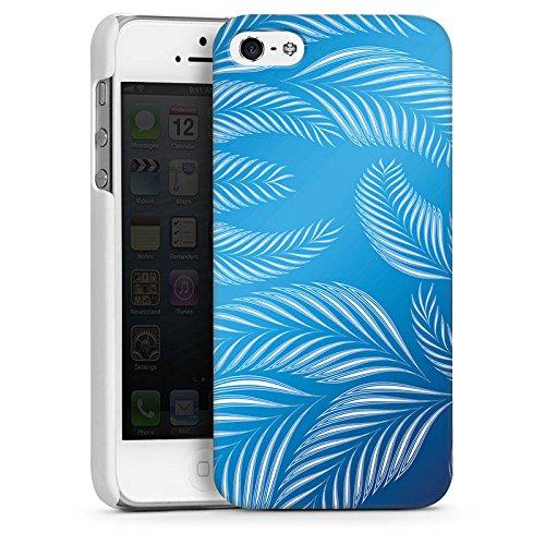 Apple iPhone 4 Housse Étui Silicone Coque Protection Palmiers Feuilles Bleu CasDur blanc