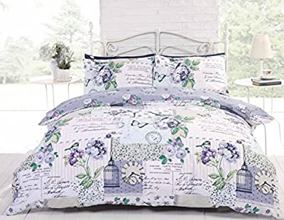 Bedding Heaven Blue Shabby Chic French Country Reversible DUVET COVER Butterflies, Flowers, Clocks, Postcards, Birds, Birdcages. SINGLE BED SIZE DUVET COVER. By Bedding Heaven