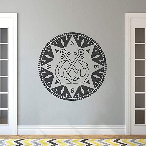 wukongsun Nautischen Anker wandtattoo kompass Design Vinyl wandaufkleber Hause Badezimmer Dekoration Anker nautischen Stil wandkunst Poster 75 cm x 75 cm