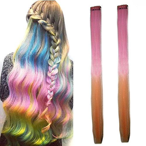 Miya® 1 Stück Clip-In-Haarteil, Haarverlängerung, Perücken, Kunsthaar in schöner Gradient Farbe, sehr schönes Accessoire für Party, Fasching, Karneval, Fest, Farbe - Teezers Kostüm