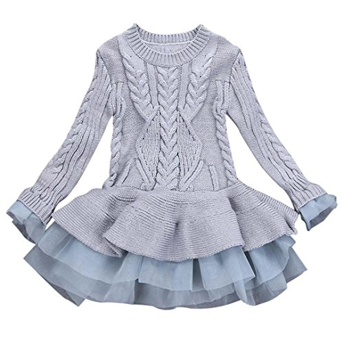 Weihnachtskleidung Baby Sannysis Kinder Mädchen Strickpullover Winter Pullover Häkeln Tutu Kleid Tops Kleidung (Grau, 140)