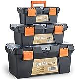 VonHaus 3 teiliges Kunststoff Werkzeugkisten Werkzeugkasten Werkzeugkoffer Set