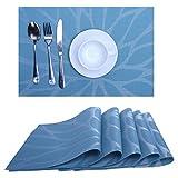 Platzsets Abwaschbar Tischsets 6er Set PVC Vinyl Rutschfest Hitzebeständig platzdeckchen 30x45 cm (Blau)