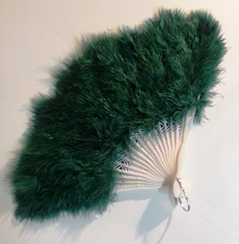 Ventaglio in piuma verde smeraldo per travestimento burlesque