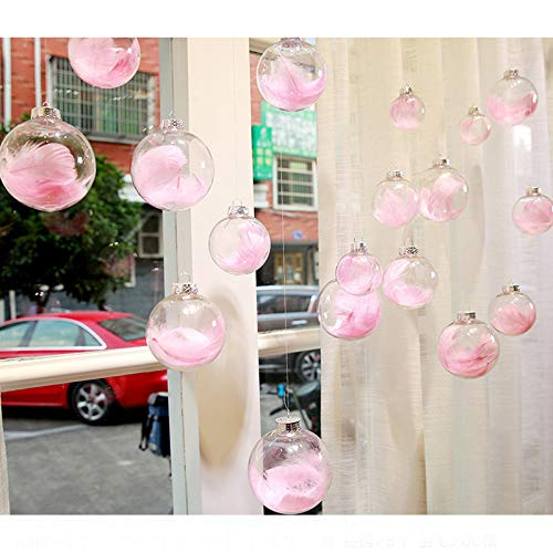 Smilinggirl decorazioni natalizie - palline trasparenti vuote + piume colorate + carta lafite - adatto per la casa, il matrimonio, gli ornamenti per negozi(28 / set),featherpink
