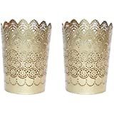 Set Of 2 Gold Etched Metallic Candle Holders With Bonus 6 Scented Tea-Light Candles | Beautiful Flickering Reflections In The Dark | Candles For Decoration Love | Scented Candles For Bedroom