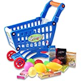 Zorbes Kids Supermarket Mini Shopping Cart With Full Grocery Food Toy Playset