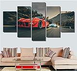 XYZNB ImpressionssurToile 5 Pièces Rouge Voiture De Sport De Dérive Mur Art Images HD Imprimé Affiche Salon Décoration No Frame