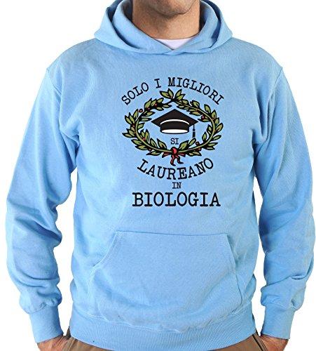 Settantallora - Felpa Con Cappuccio KJ2415 Solo i Migliori Si Laureano in Biologia Celeste
