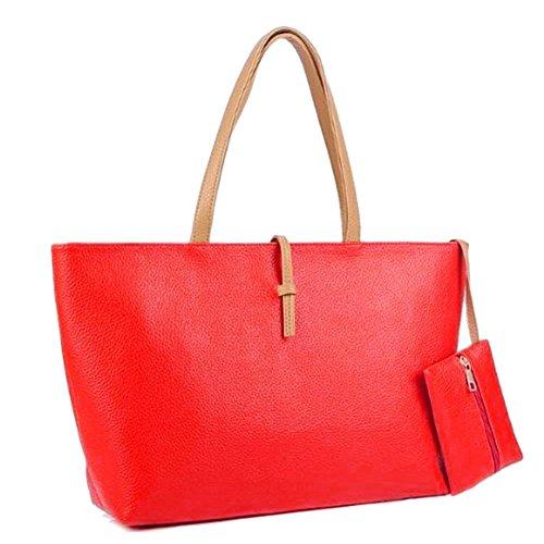 SODIAL(R) Borse a tracolla di cuoio dellunita di elaborazione delle nuove borse di colore della caramella di disegno bambino-madre di relazione nero Rosso