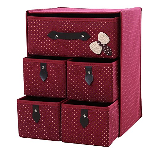 Cuiyoush Aufbewahrungsbox mit 5 Schubladen, platzsparend, Vliesstoff, zusammenklappbar rot
