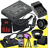 Canon EOS M 18 MP CMOS Mirrorless Digital SLR Camera LP-E12 Lithium Ion Replacement Battery + External Rapid Charger + 16GB SDHC Class 10 Memory Card + 43mm 3 Piece Filter Kit + SDHC Card USB Reader + Memory Card Wallet + Deluxe Starter Kit + Wide Angle /