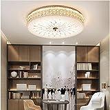 Modern Dimmbar LED Deckenleuchte Deluxe Kristall lampe Runden Design Deckenlampe Weiß Glas Lampenschirm Wohnzimmerlampe Leuchte für Schlafzimmer Esszimmer Goldfarben, Ø40cm