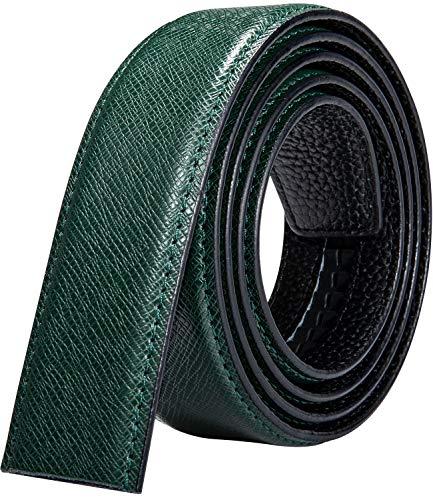 YOHOWA Cinturón de piel de vacuno para hombre, 100% piel auténtica, diseño oriental, cinturón de trinquete de alto brillo, multicolor, para vaqueros y trajes de regalo Verde verde Large