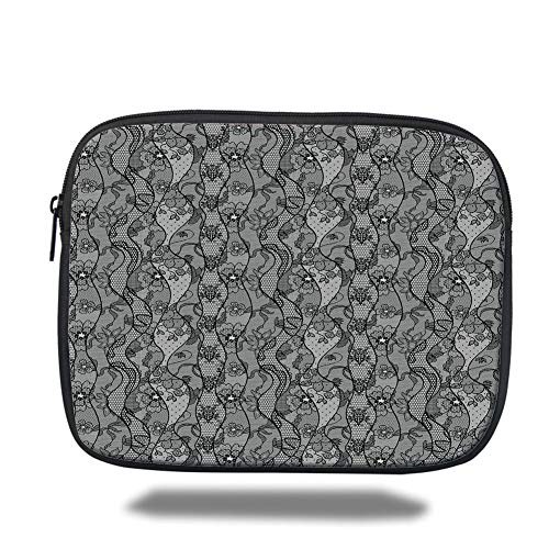 Laptop Sleeve Case,Floral,Lace Gothic Pattern with Flower Effect and Leaves Ornamental Antique Feminine Design,Grey Black,Tablet Bag for Ipad air 2/3/4/mini 9.7 inch - Antique Lace Top