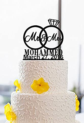 Mr and Mrs Couples Rings Personalised Last Name and Wedding Date Wedding Cake Toppers Acrylic Cake Decor