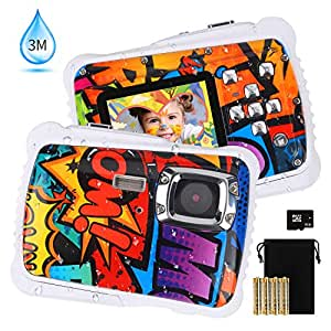 """[2019 Newest Kids Camera] Kids Waterproof Camera, DECOMEN Digital Underwater Camera for Boys and Girls, 12MP HD Action Sport Camcorder with 2.0"""" LCD, 8X Digital Zoom, Flash, Mic and 8G SD Card."""