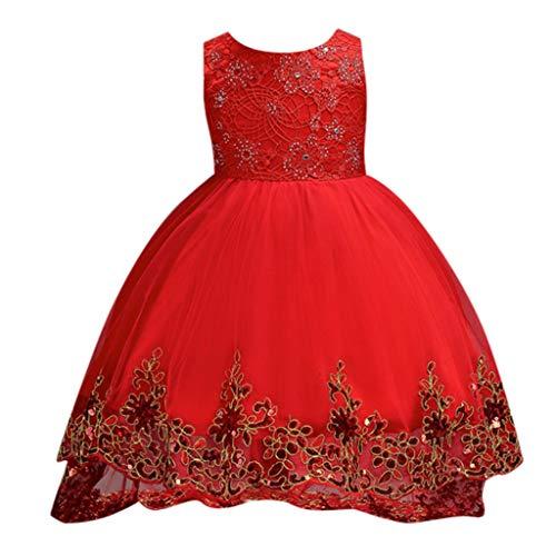 LEXUPE Baby Mädchen Prinzessin Kleid Blumenmädchenkleid Taufkleid Festlich Kleid Hochzeit Partykleid Festzug Babybekleidung(Rot,150)