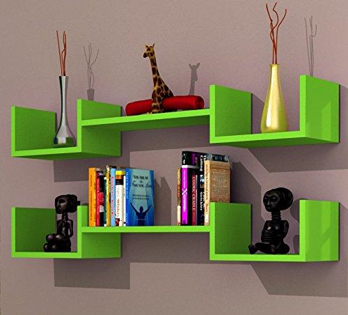 LIFE DUO Étagère murale - étagère à livres pour décoration de salon en bois dans un design moderne (Vert)