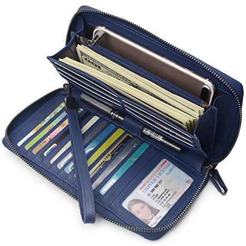 Portmonee Damen mit RFID Schutz Geldbeutel, Portemonnaie, Geldbörse, Brieftasche, Damengeldbeutel, Damengeldbörse lang groß viele fächer Leder Reissverschluss(Navy-Blau) -