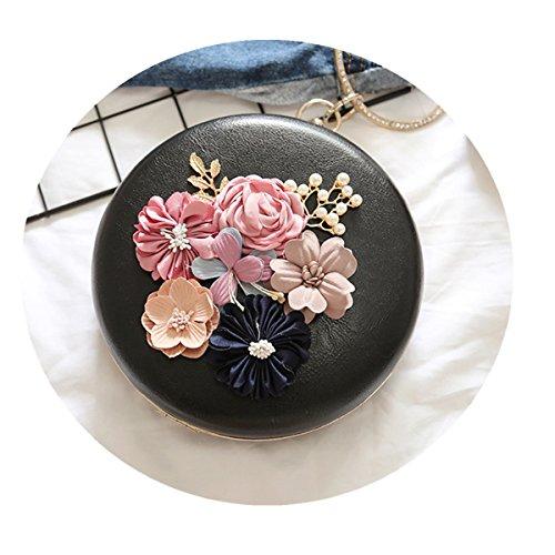 OURBAG Frauen Kleine Abendtasche Blume Party Hochzeit Tasche Geldbörse Handtasche Schwarz Weiß Khaki Schwarz